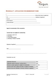 Application for Membership